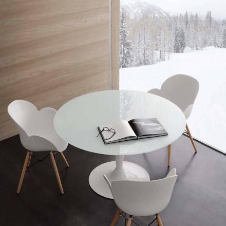 Tavolina e rrumbullakët Aurora, e bërë nga qelqi dhe çeliku i tepruar