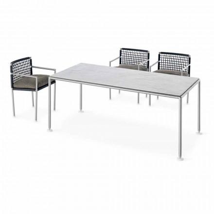 Dizajn modern Tavolinë në natyrë çeliku dhe kuarci prodhuar në Itali - Ontario7