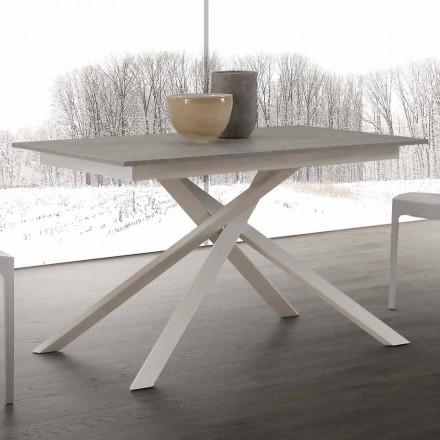 Tavolinë prej druri e zgjëruar deri në 190 cm, me bazë të kryqëzuar, Leçe