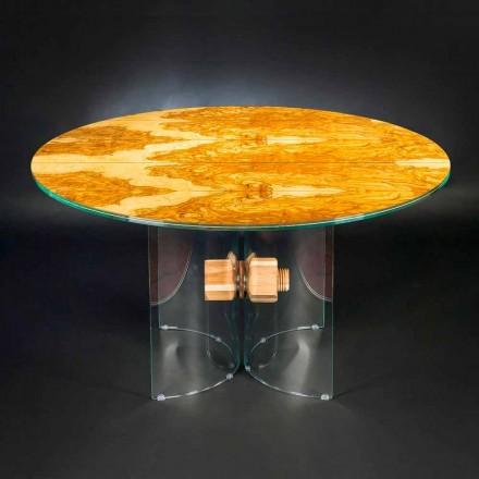 Tabela e rrumbullakët Portofino, e bërë nga druri i ullirit dhe qelqi