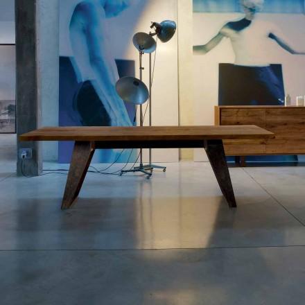Tavolina ngrënieje moderne Antonio në dru të ngurtë Alder, përfundim natyral