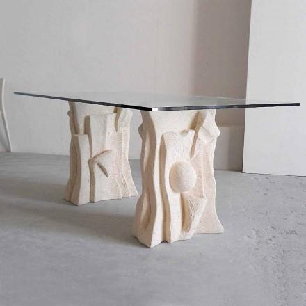 Tavolinë ngrënieje me dizajn klasik Priamo, gur natyral Vicenza dhe kristal
