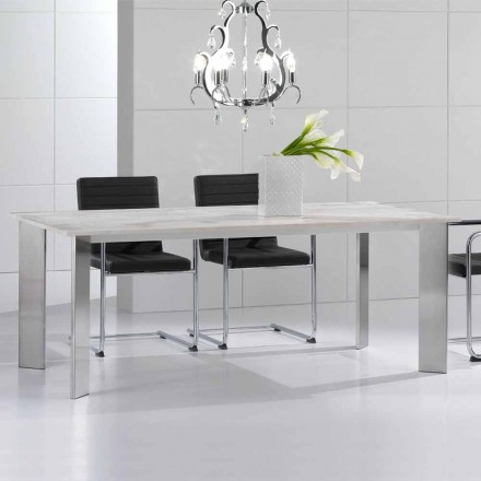 Tavolinë ngrënieje prej guri Travertine, dizajn modern, Pompilio
