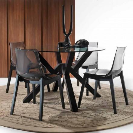 Tavolinë e rrumbullakët ngrënie Burgos, me tavolinë xhami të lartë dhe këmbë gri
