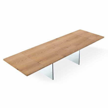 Tabela Moderne e Zgjerueshme deri në 300 cm në Laminuar dhe Qelq Made në Itali - Strappo