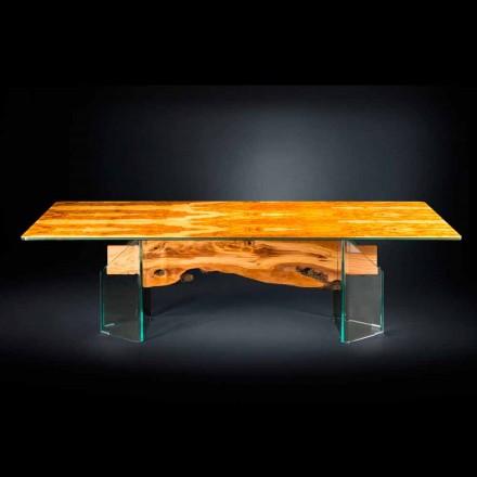 Tabela drejtkëndëshe Portofino, e bërë nga druri i ullirit dhe qelqi