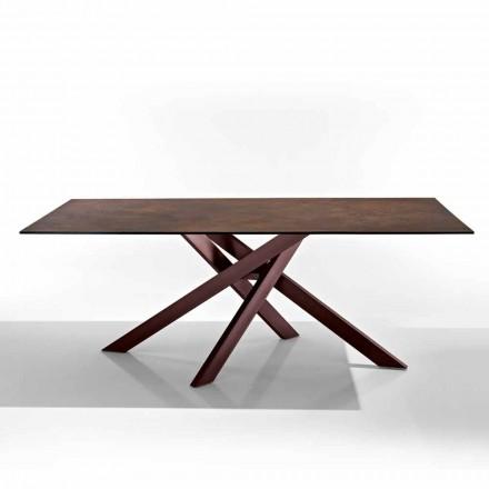 Tavolinë moderne në vitore-qelqi dhe pllaka metalike e bërë në Itali, Dionigi