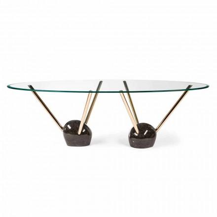 Tavolinë ngrënie ovale Zoe me majë qelqi, e bërë në Itali, dizajn modern