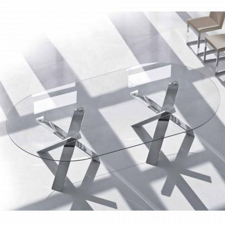 Dizajni tryezë ovale në kristal 220x120cm bërë në Itali, Pemë