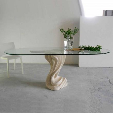 Dizajni i tryezës së ngrënies i bërë nga kristali dhe guri natyror Vicenza Agave