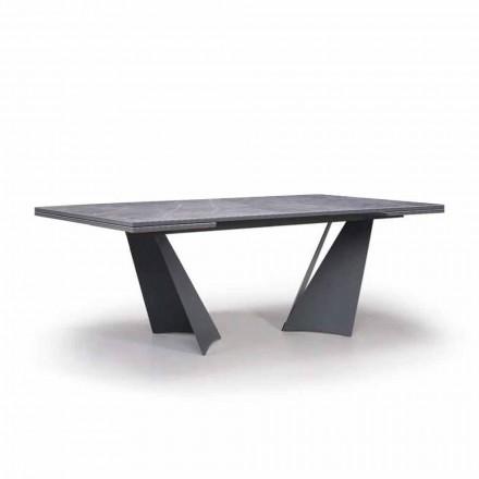 Tabela e zgjatur e darkës Deri në 294 cm në Gres dhe Metal prodhuar në Itali - Nuzzio