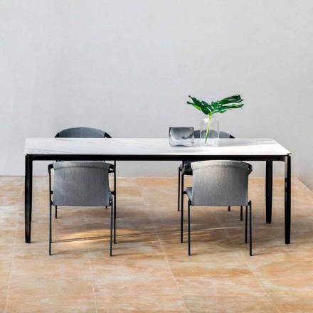 Tavolina për ngrënie në kopsht në alumin dhe Hpl ose Gres, përfundime të ndryshme - Filomena