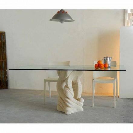 Tavolinë ngrënie me bazën e gurit natyror Vicenza Ascanio, e bërë në Itali