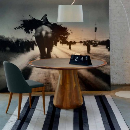 Tavolina e rrumbullakët moderne Carlo, arre e ngurtë dhe majë lëkure, e bërë në Itali