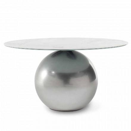 Tavolinë e rrumbullakët qeramike me bazë metalike prodhuar në Itali - Cirku Bonaldo