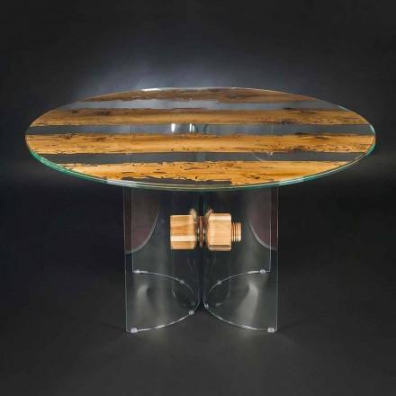 Tavolina e rrumbullakët Venezia, e bërë nga druri me brikol dhe Venecia nga Venecia