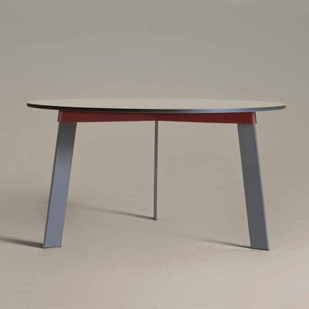 Tavolinë e rrumbullakët me dizajn modern në çelik dhe MDF me llak të ngjyrosur - Aronte
