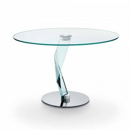 Tavolinë e rrumbullakët e dizajnit modern në xhami ekstra të qartë të bërë në Itali - Akka