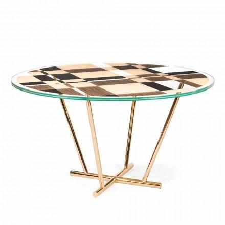 Tavolina e rrumbullakët e kafesë Ozzy me top qelqi dhe intarsia, dizajn italian