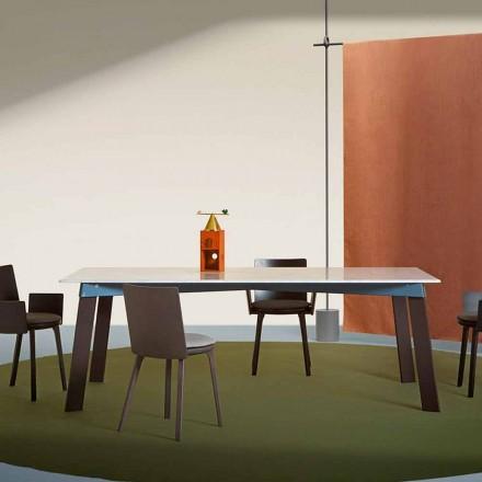 Tavolinë moderne e dhomës së ndenjes në çelik me pjesën e sipërme të mermerit - Aronte