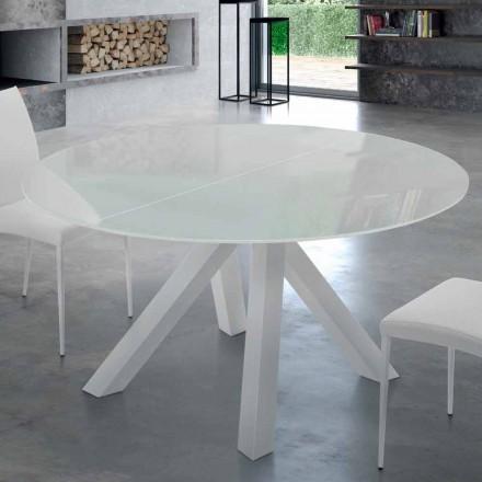 Tavolinë e rrumbullakët e zgjëruar në qelqi të rrëmbyer dhe çeliku të bërë në Itali - Settimmio