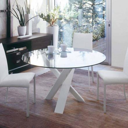Dizajni i tryezës së rrumbullakët (vd. 130) me majë kristali të bërë në Itali Cristal