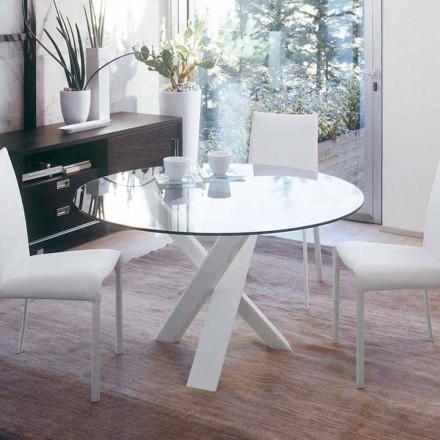 Dizajni i tryezës së rrumbullakët (vd. 160) me majë kristali të bërë në Itali Cristal