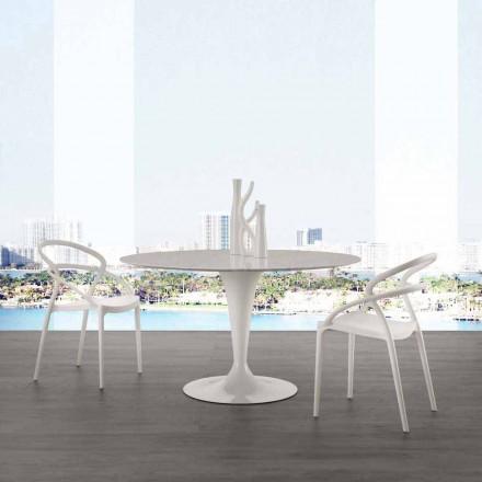 Tavolinë e rrumbullakët me majë mermeri të bardhë Carrara me diametër 120 cm Rimini