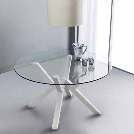 Tavolinë e rrumbullakët ngrënie Burgos, me tavolinë qelqi dhe këmbë të bardha