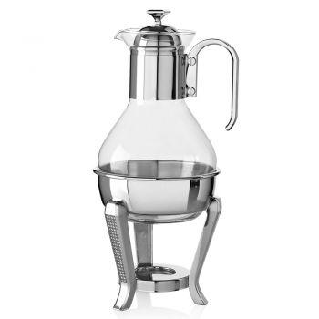 Çajnik në Silver Metal dhe Luksoz Dizajn Xhami me Shkëlqim - Sbrillo