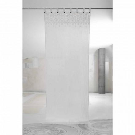 Perde prej liri e dritës së bardhë me dantella të dizajnit elegant të prodhuar në Itali - Geogeo