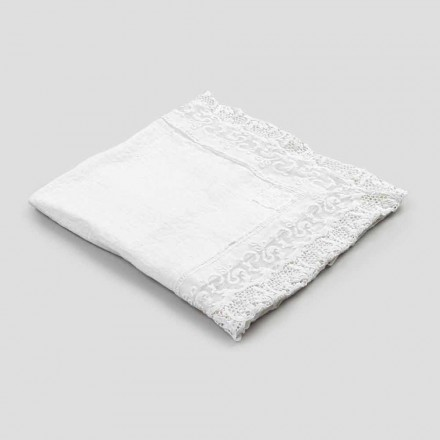 Mbulesë tavoline prej liri katror me dizajn luksoz të bardhë me dantella prodhuar në Itali - Olivia