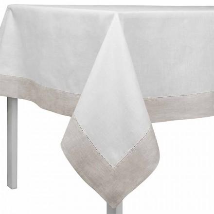 Mbulesë tavoline me drejtkëndëshe ose katror të bardhë dhe natyral, të bërë në Itali - Chiana