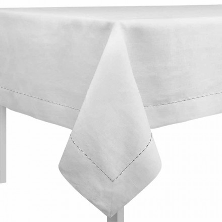 Mbulesë tavoline drejtkëndëshe ose katrore në liri të bardhë të bërë në Itali - Chiana