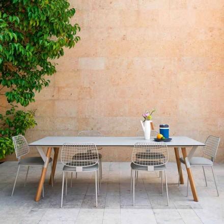 Tavolinë e gjërë e shtrirë me këmbë dru tik, H 65 cm Lidhje nga Varaschin