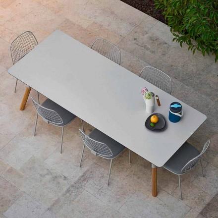 Tavolinë ngrënieje e shtrirë në natyrë me këmbë dru tik, H 75 cm Link Varaschin