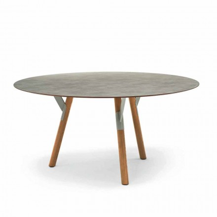 Tavolinë e rrumbullakët e kopshtit me këmbë dru tik, H 65 cm, Link nga Varaschin