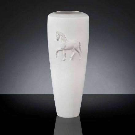 Vazo qeramike e bardhë Carlos, 100% e bërë në Itali, dizajn modern