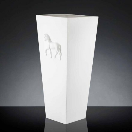 Vazë kubike e bardhë Cody, dizajn modern, i punuar me dorë nga artizanët italianë
