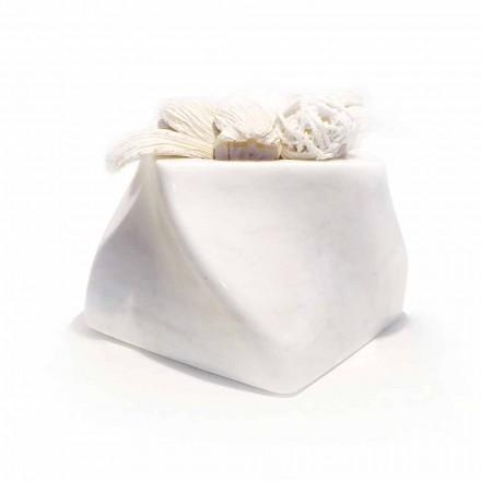 Vazo me Dizajn Dekorativ në Bardiglio ose Mermer Carrara Prodhuar në Itali - Prisma