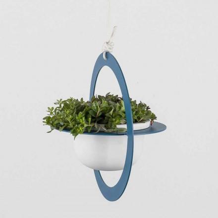 Vazo me lule të varura në çelik dhe qeramike prodhuar në Itali - Leotta