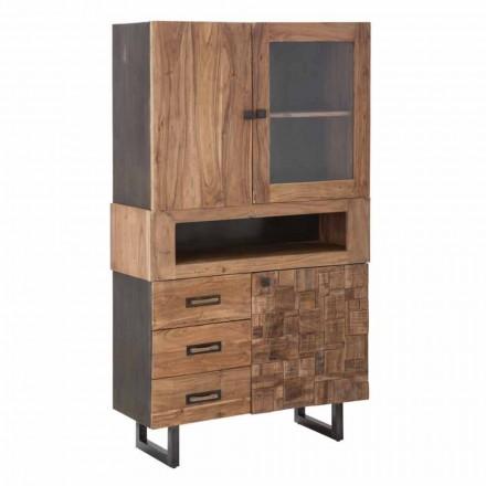 Vitrinë moderne me mbathje dhe dyer, hekuri, qelqi dhe druri i akacies - Dianna